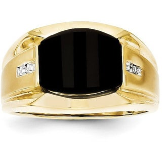 Versil 10 Karat Men S Diamond And Black Onyx Ring