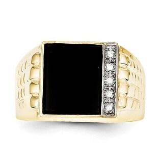 10 Karat Onyx & .03ct Diamond Men's Ring