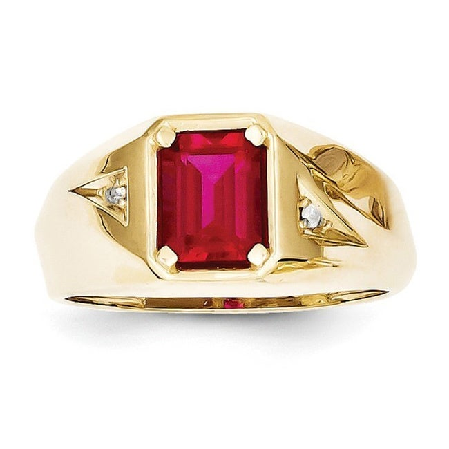 Versil 10 Karat Created Ruby & .02ct Diamond Men's Ring (...