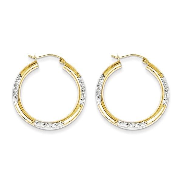 10 Karat Rhodium Diamond Cut 3mm Hoop Earrings