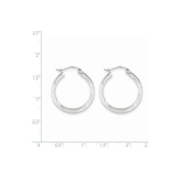 10K White Gold Diamond Cut 2.5x20mm Hoop Earrings