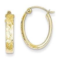 10 Karat Diamond Cut Oval Hoop Earrings