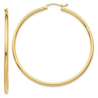 10 Karat Polished 2mm Round Hoop Earrings