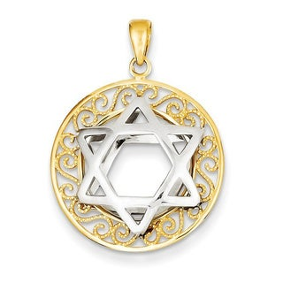 14 Karat Two-tone Star of David Pendant with 18-inch chain