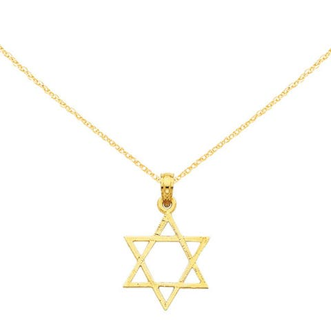 14K Yellow Gold Star of David Pendant with 18-inch Cable Rope Chain by Versil