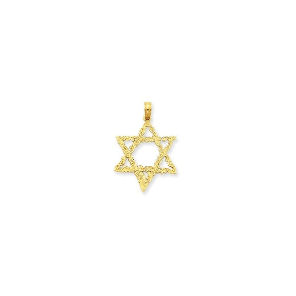 14K Yellow Gold Star of David Pendant with 18-inch Cable Rope Chain by Versil. Opens flyout.
