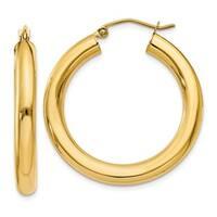 Versil 10 Karat Polished 4mm x 30mm Tube Hoop Earrings
