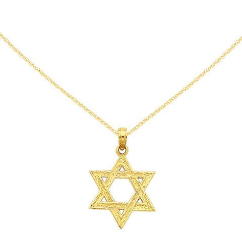 14K Yellow Gold Polished Star Of David Pendant with 18-inch Cable Rope Chain by Versil