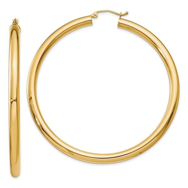 Shop Versil 10 Karat Yellow Gold Polished 4mm Tube Hoop Earrings