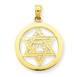 14 karat Jewish Chi in Star of David Pendant with 18-inch chain