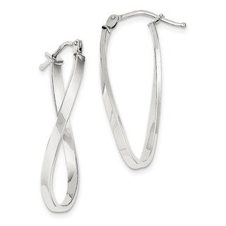 10 Karat White Gold Small Twisted Earrings