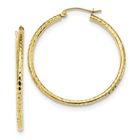 10K Yellow Gold Diamond Cut 2mm Round Tube Hoop Earrings by Versil
