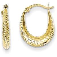 10 Karat Textured Hollow Hoop Earrings