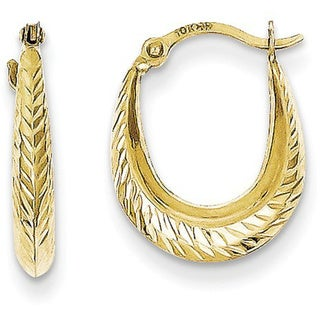 10 Karat Textured Hollow Hoop Earrings