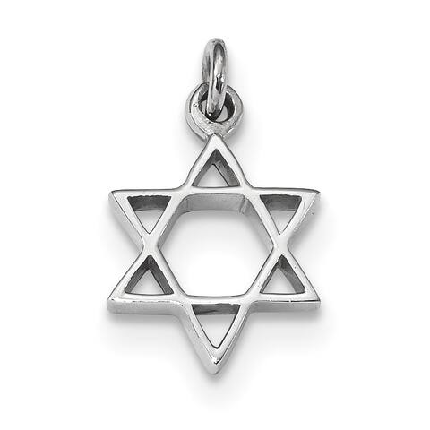 Versil Sterling Silver Rhodium-plated Polished Star of David Pendant