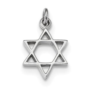Versil Sterling Silver Rhodium Plated Polished Star Of David Pendant