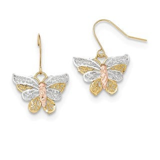 10 Karat Two-tone Rhodium-plated Diamond Cut Filigree Butterfly Dangle Earrings