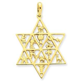 14K Star Of David 12 Tribes Pendant