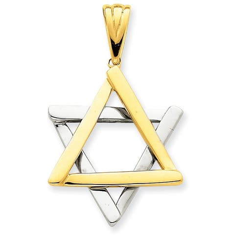 Versil 14 Karat Two-tone Star Of David Pendant with 18-inch Chain
