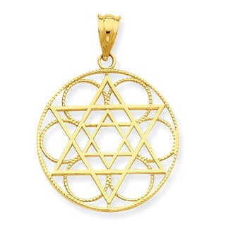 14 Karat Star of David Circle Pendant with 18-inch chain