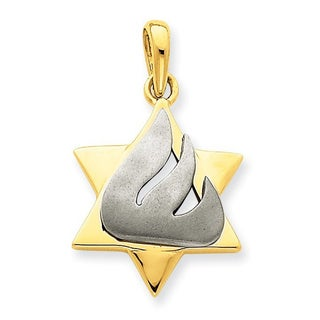 Versil 14 Karat Two Tone Star Of David Pendant With 18 Inch Chain