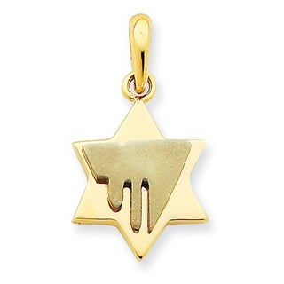 14 Karat Two-tone Chai on Star of David Pendant with 18-inch chain