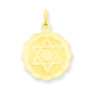 14 Karat Solid Star of David Disc Charm with 18-inch chain