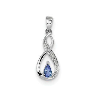 """Sterling Silver Rho-plated Tanzanite & Diamond Pendant With 18"""" Chain"""