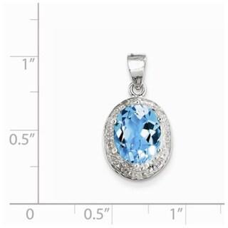 Sterling Silver Light Swiss Blue Topaz /& Diamond Pendant