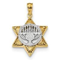 14k Two-tone Star of David & Menorah Pendant