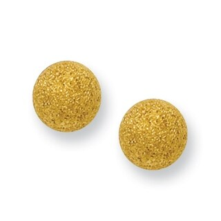 Stainless Steel Yellow IP-plated Laser Cut 6mm Bead Post Earrings