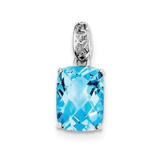 Sterling Silver Rhodium-plated Blue Topaz Pendant With Chain