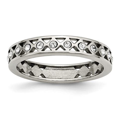 Chisel Stainless Steel Polished Crystal 4.50mm Band