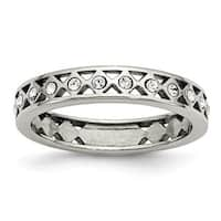 Stainless Steel Polished Crystal 4.50mm Band