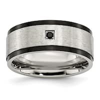 Stainless Steel Brushed/Polished Black IP-plated w/Black CZ Ring