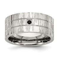 Stainless Steel Polished and Satin w/Black CZ Ring