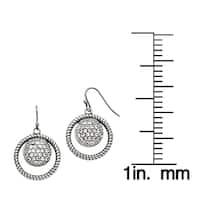 Stainless Steel Polished Circle CZ Shepherd Hook Earrings