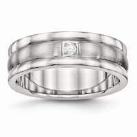 Stainless Steel Polished and Brushed Grooved CZ Ring