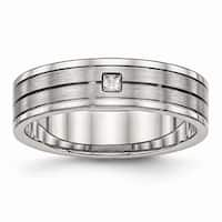 Stainless Steel Brushed and Polished Grooved CZ Ring