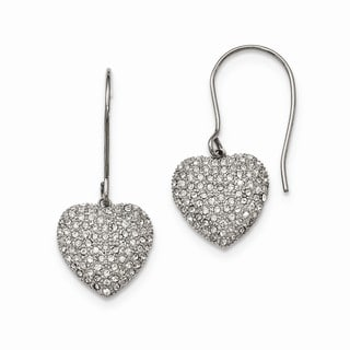 Stainless Steel Polished with  Preciosa Crystal Heart Dangle Earrings