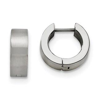 Stainless Steel Brushed Round Hinged Hoop Earrings