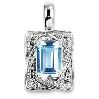 Sterling Silver Rhodium-plated Diamond & Light Blue Topaz Pendant With Chain
