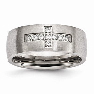 Stainless Steel Brushed CZ Cross Ring
