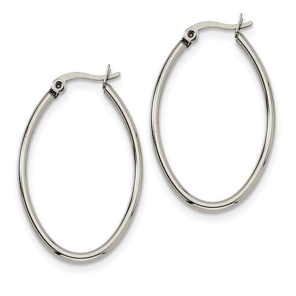 4cd26cfa2 Shop Chisel Stainless Steel 25mm Diameter Oval Hoop Earrings - Free ...