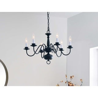 Design Craft Hayden Black 6-Light Chandelier