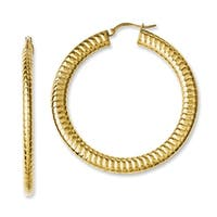 Stainless Steel Yellow IP-plated Textured Hollow Hoop Earrings