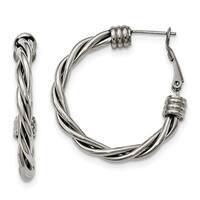 Stainless Steel Polished Twisted Hoop Earrings