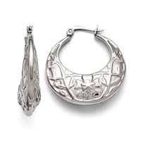 Stainless Steel Polished Hollow Hoop Earrings