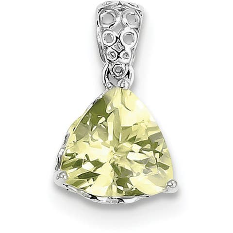 Sterling Silver Rhodium-plated Lemon Quartz Pendant with 18-inch Cable Chain by Versil