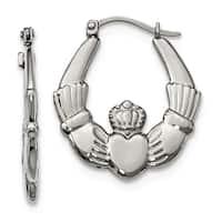 Stainless Steel Polished Claddagh Hoop Earrings